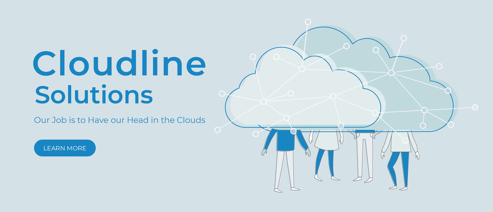 Trial for the Landing Page Illustration, with people under a cloud with interconnected network - light blue background