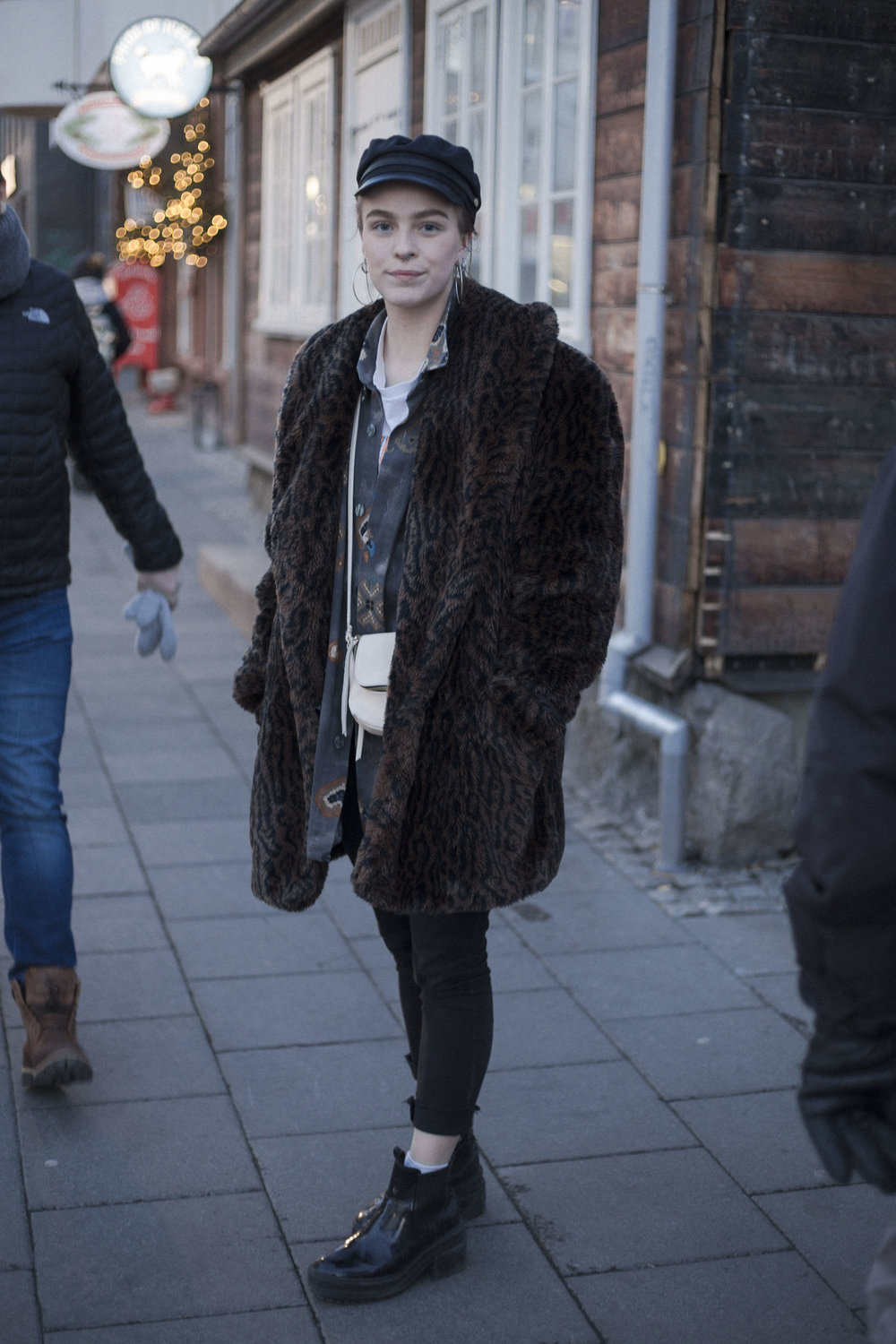 Stylish girl on the streets of Reykjavik in dress from Spuutnik Laugarvegur