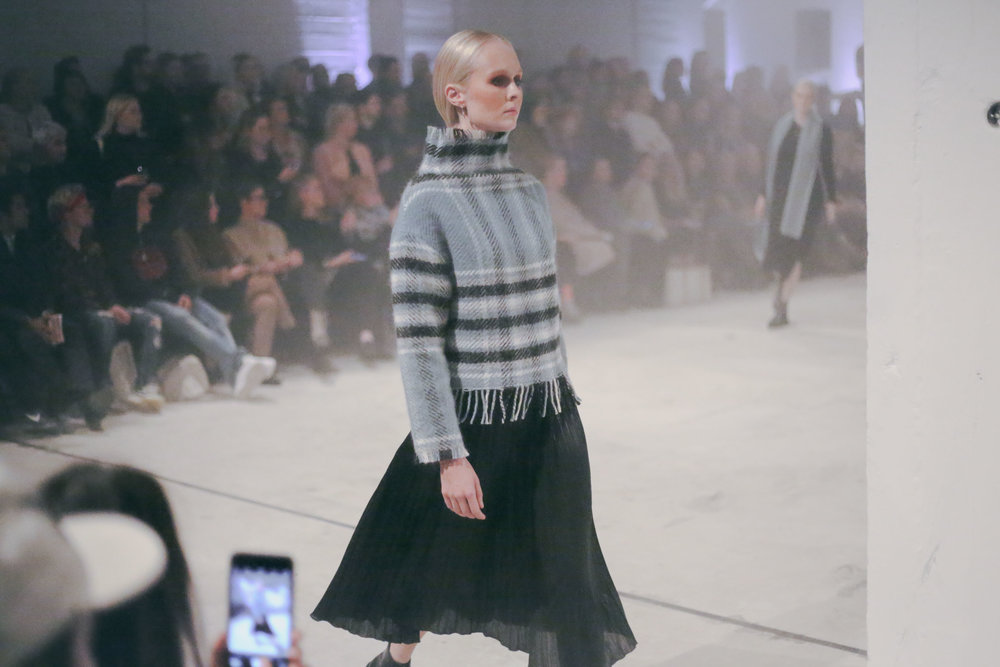 Geysir beautiful wool design. Wool carpet turned in to wool striped sweatter