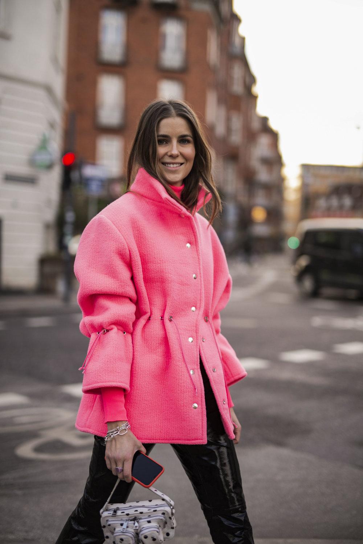 Best Streetstyle during Copenhagen Fashion Week. Nina-Sandbeckduring on the streets of Copenhagen in her own jacket design