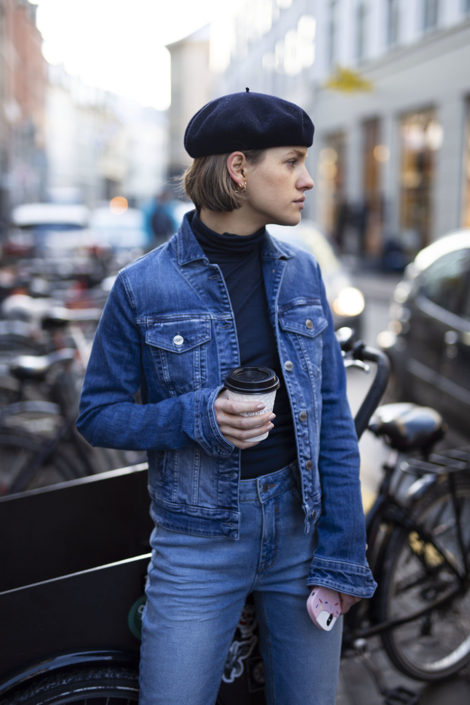 Julie Blichfeld on the streets of Copenhagen wearing a top to toe denim set from Denim Hunter