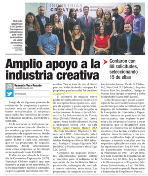 Copy of El Nuevo Dia: Amplio Apoyo a la Industria Creativa