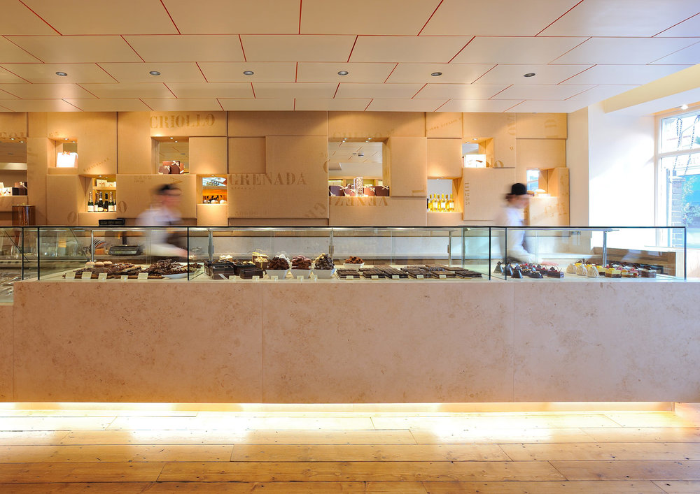 William Curley -   London   This is a new shop and dessert bar for renowned chocolatiers William & Suzue Curley, comprising 90 sq.m ground floor retail space and 60 sq.m basement.