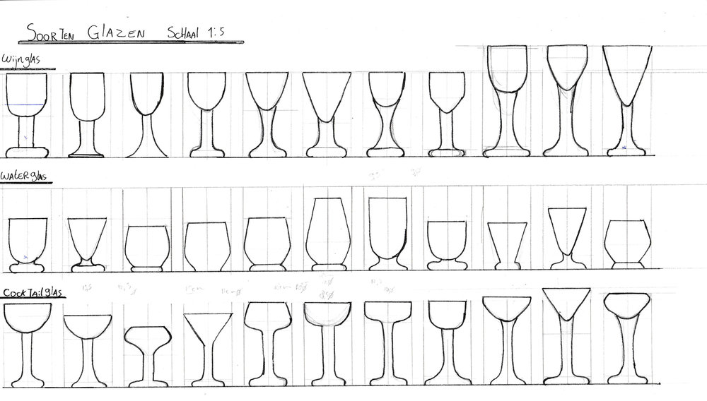 The first sketches of the design of the wine and water glass