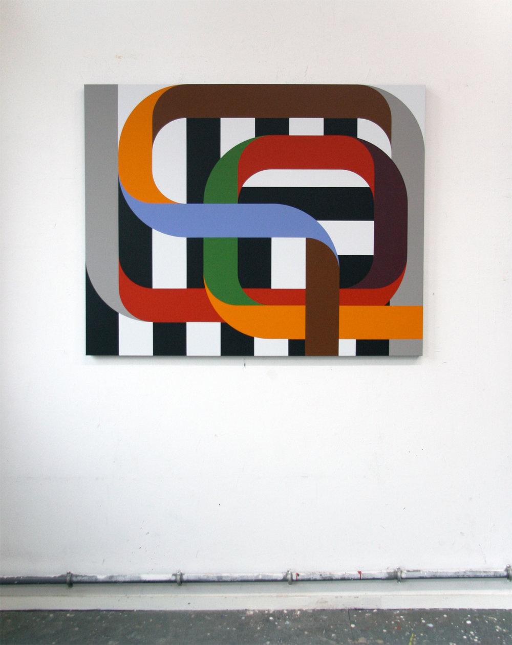 CROSSINGS 6   Colored bands in open fields 1 150 x 120 x 4,5 cm Acrylic on canvas 2018     ropp schouten