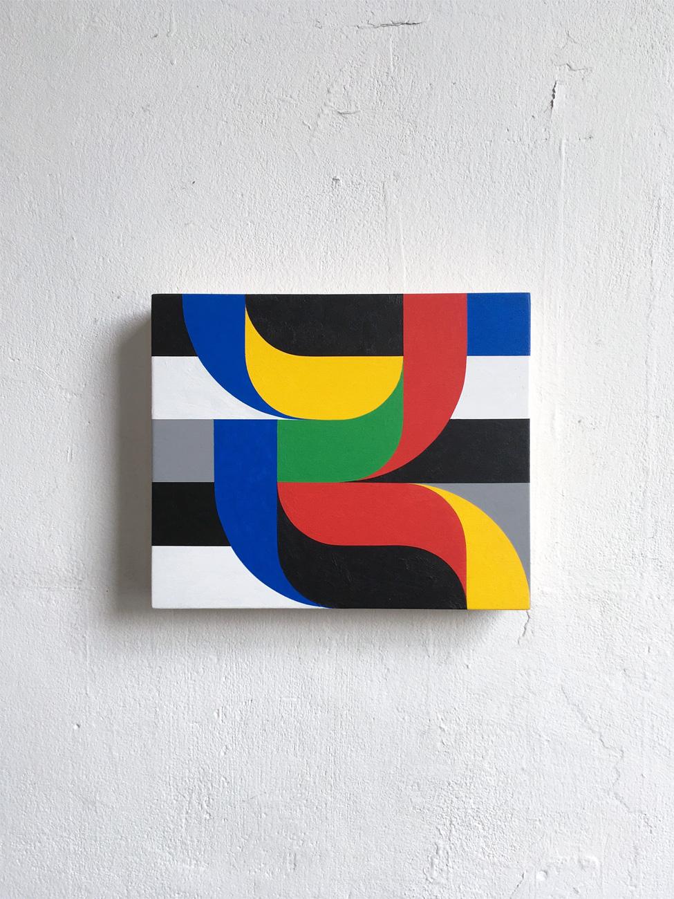 Crossings on wood 1  20 x 24 x 3.6 Acrylic on wood 2018