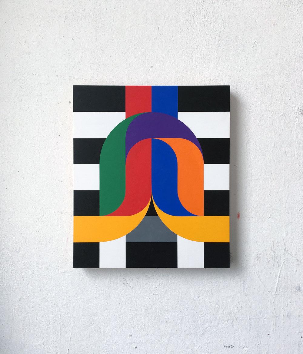 Crossings on wood 2  30 x 35 x 3.6 Acrylic on wood 2018