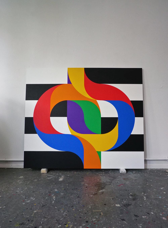 CROSSINGS 8  210 x 180 x 4,5 cm Acrylic on canvas 2018     ropp schouten
