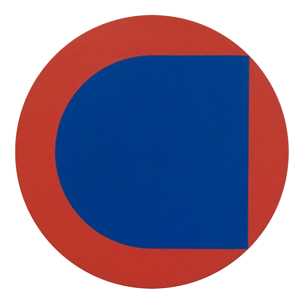 Blue in Red  Acrylic on wood, 30 cm