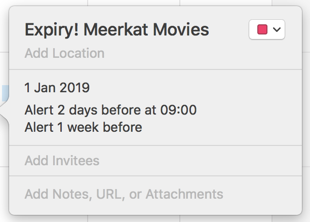 Meerkat Movies Expiry Reminder