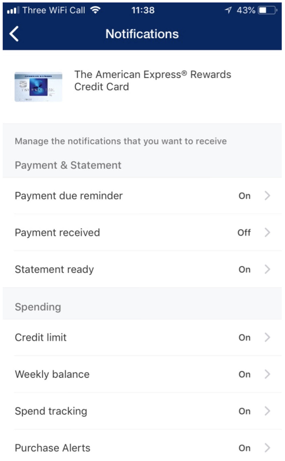 Amex App Notifications