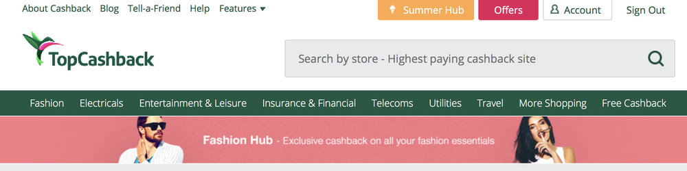 TopCashBack Search Bar