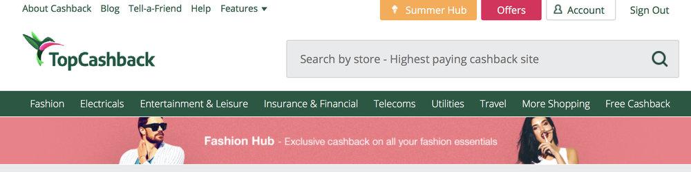 TopCashBack Search Bar: Find a Retailer