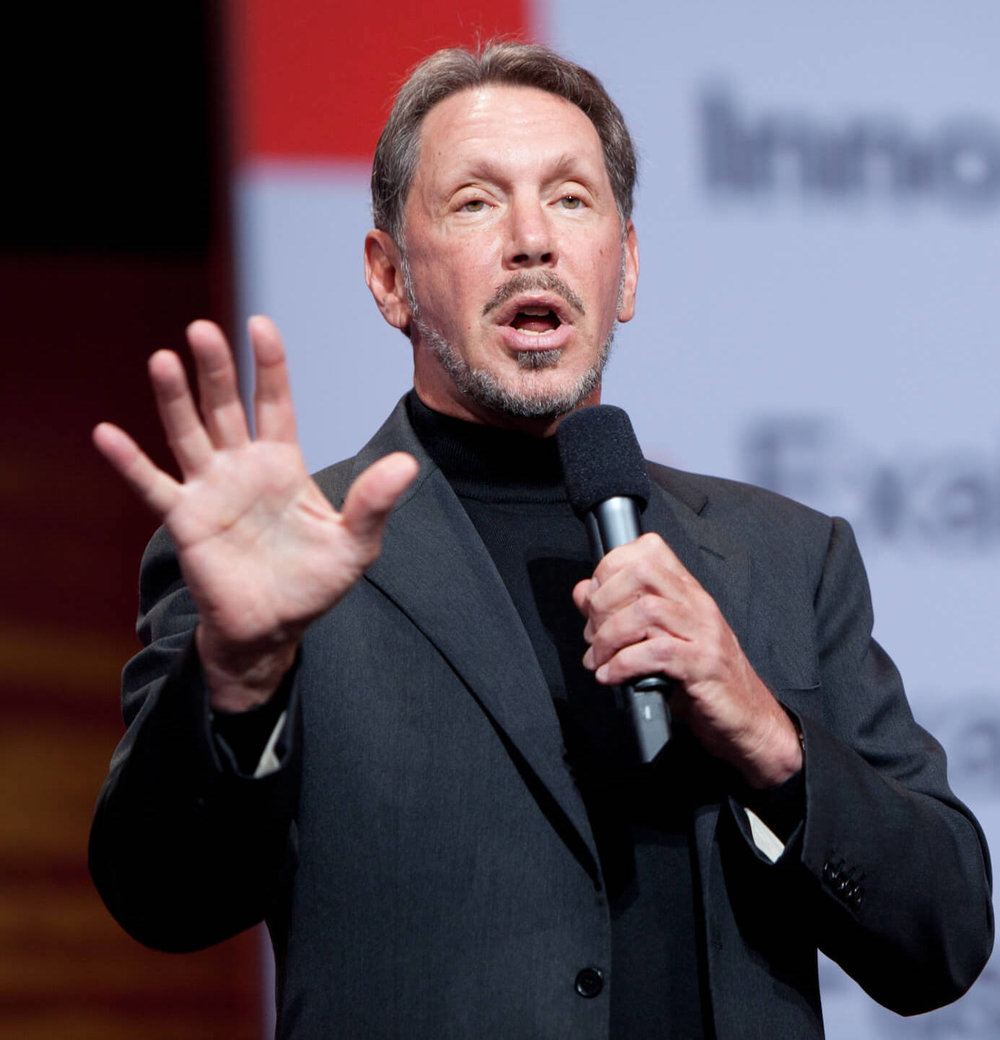 Larry Ellison - Born: August 17th, 1944 in New York City, New YorkNet Worth: $62.5Bn (March 2019)Co-Founder and Former CEO of Oracle Corporation. Non-executive director of Tesla.
