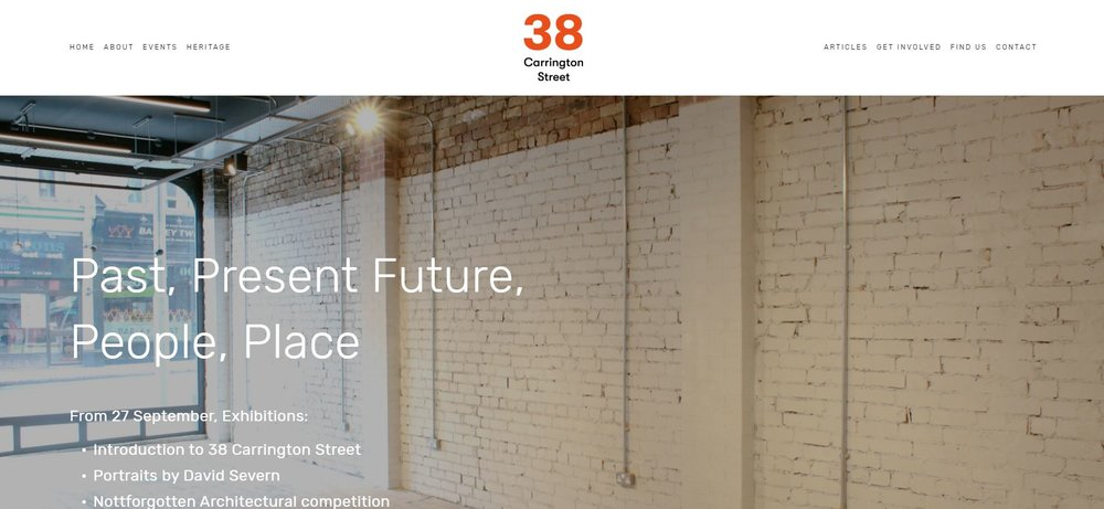 Snapshot of new website for 38 Carrington Street