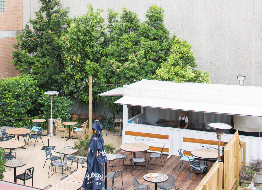 The Botany Bay Hotel has an awesome beer garden and outdoor pizza oven built out of an old shipping container