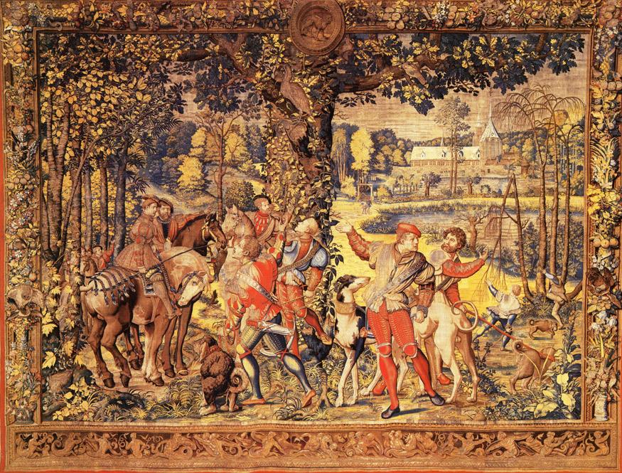 Chasses de Charles Quint : le mois de juillet.  Dans le fond : prieuré du Rouge Cloître .  sur un carton de Pieter Coecke Van Aelst (Musée du Louvre)