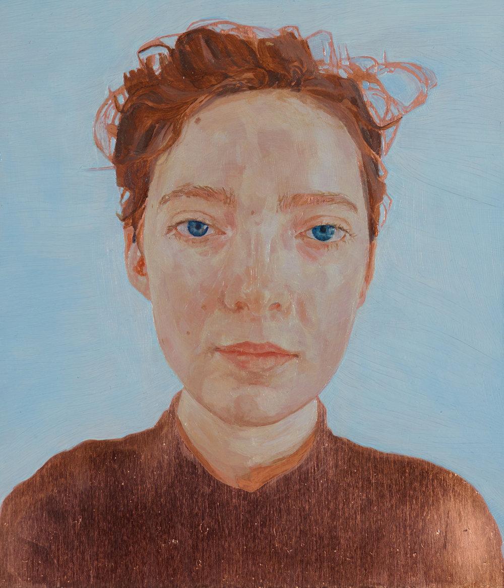 'Self-portrait' (2016) Oil on copper, 25 x 22.5 cm