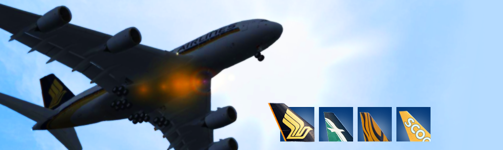 The carriers in the Singapore Airlines group before the merger of Scoot and Tigerair, image from singaporevirtualairlines.org