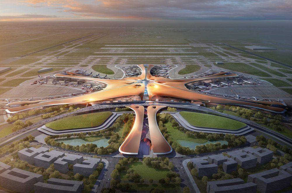 A render of the future Beijing Daxing International Airport - commissioned by the Chinese State Council, photo from zaha-hadid.com