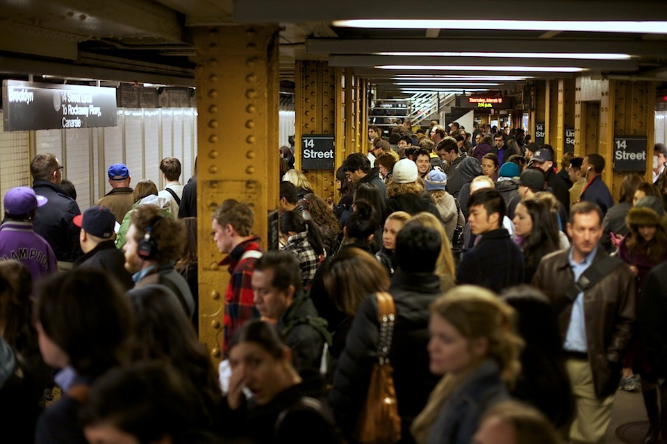 A usual sight - crowded platforms on NYC's subway, photo from Skift