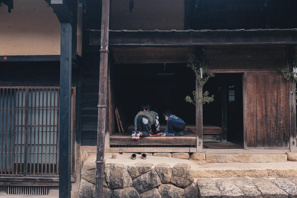 Japanese kids enjoying some leisure time in Tsumago