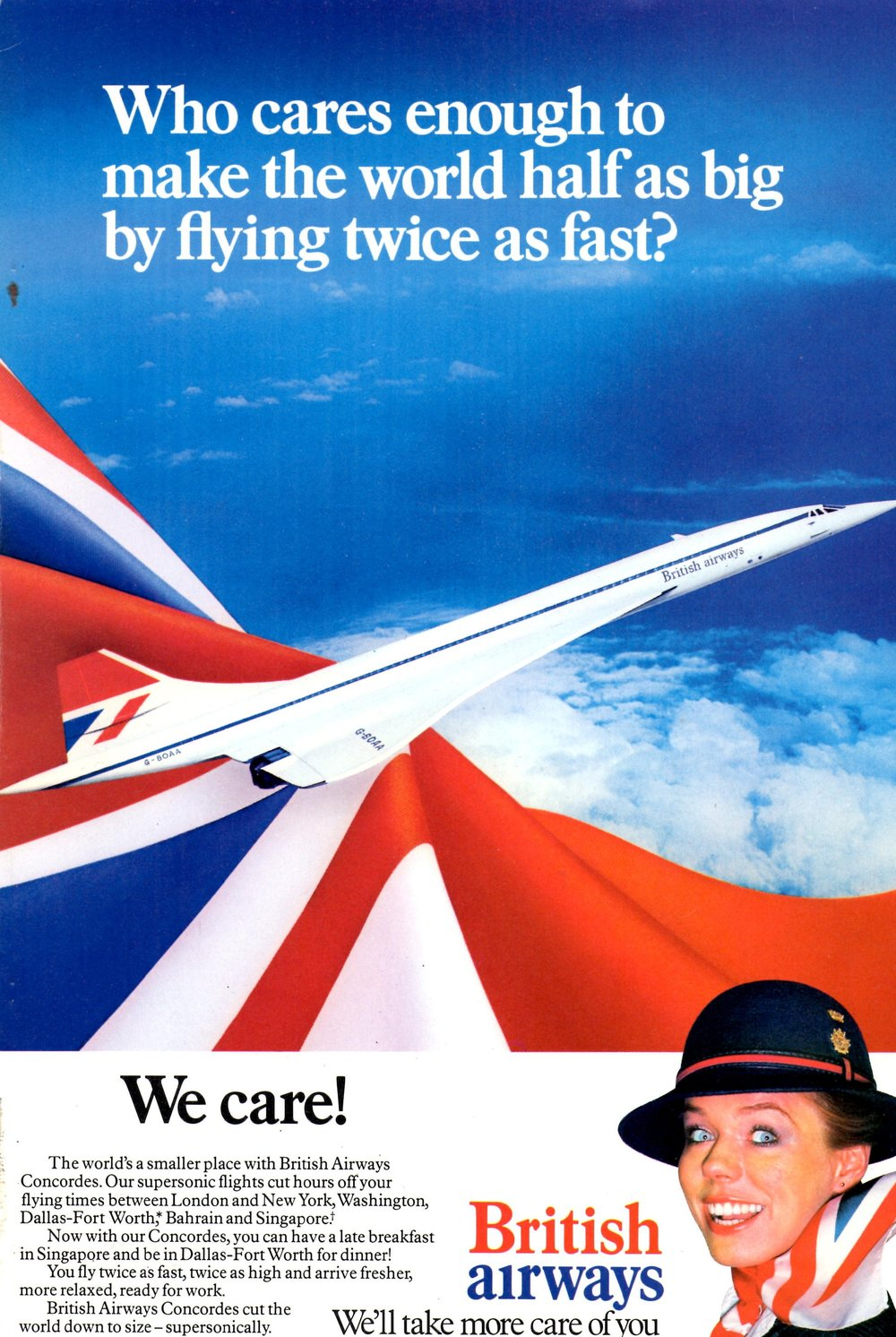 One of British Airways' promotional posters exalting the glamour of its Concorde, photo from British Airways
