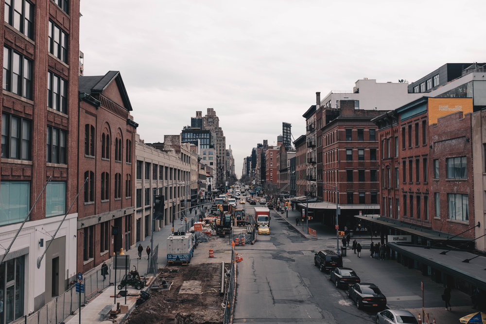 This view from the High Line in Chelsea epitomises how New York's grid system creates a stunning visual row of unending buildings that vanish into the horizon