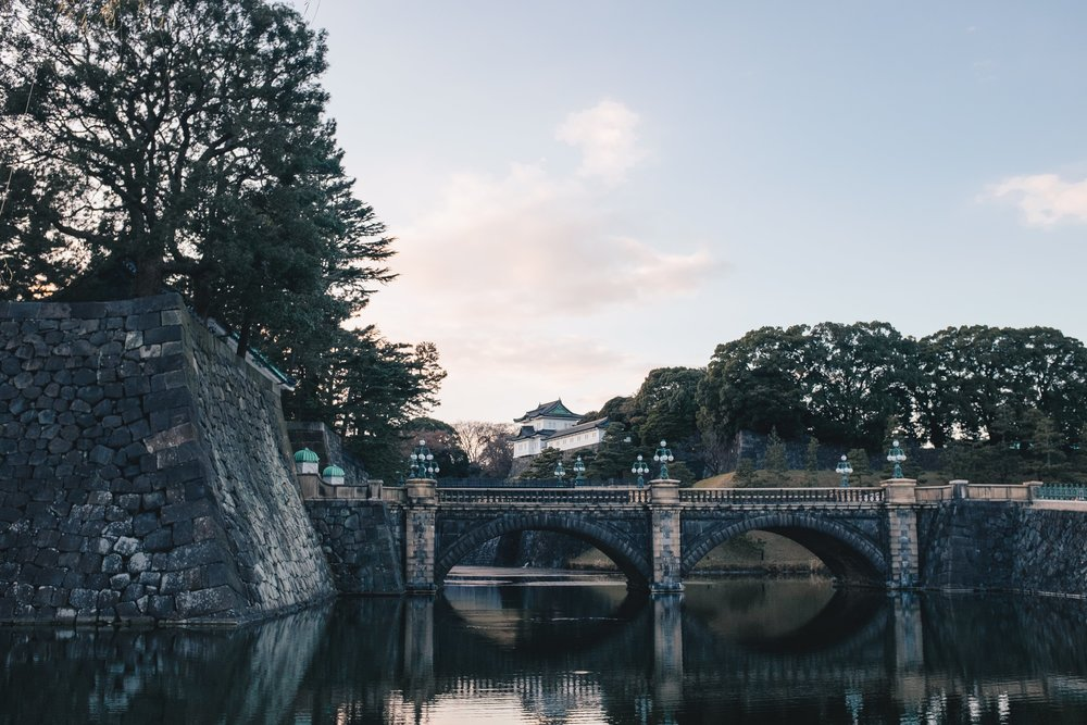 The iconic Nijubashi Bridge straddles the Tokyo Imperial Palace, the Imperial East Gardens, and the rest of Tokyo