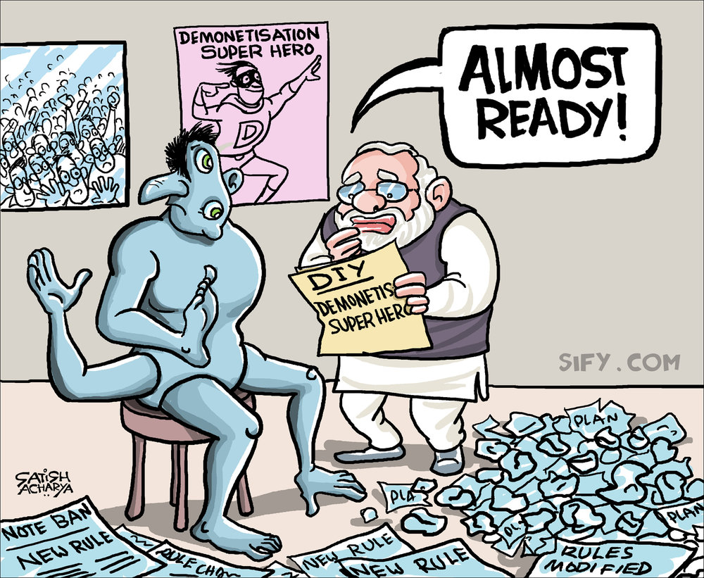 The demonetisation crisis in India, photo from SIFY and Satish Acharya