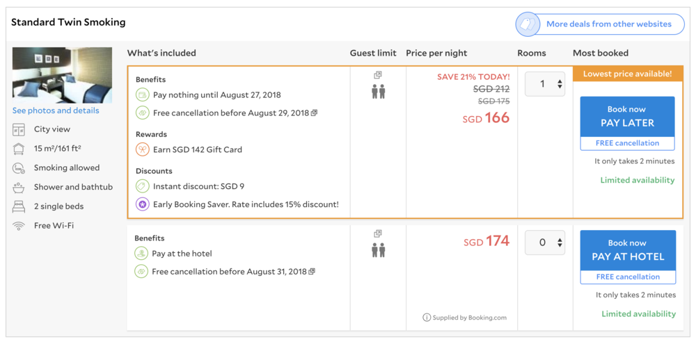A very unscientific test booking query on Agoda for the same hotel on the same nights