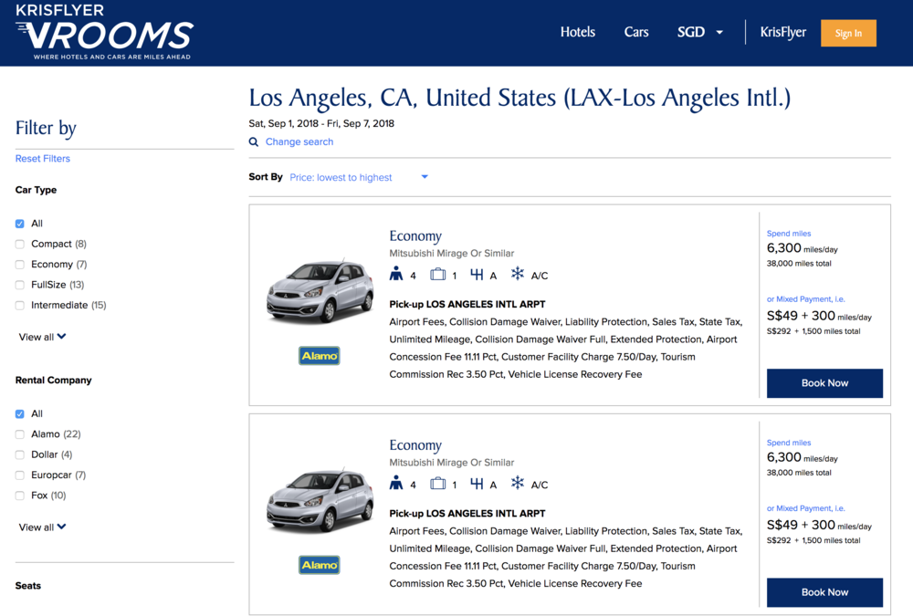 The various rental cars options available on vRooms - pretty much every (decently sized) rental car company is well represented on the portal