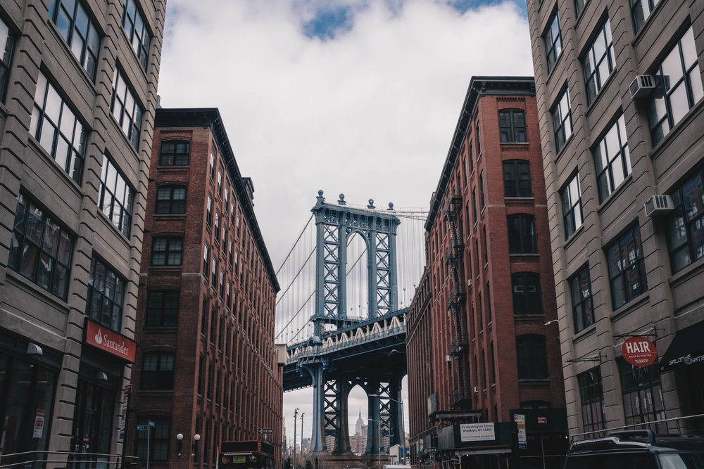 The oft photographed view of the Manhattan Bridge from Brooklyn's DUMBO