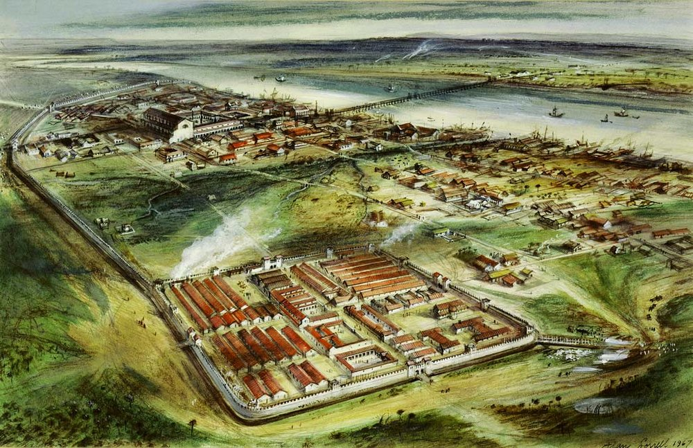 An artistic representation of the Roman settlement of Londinium,  photo from the Museum of London
