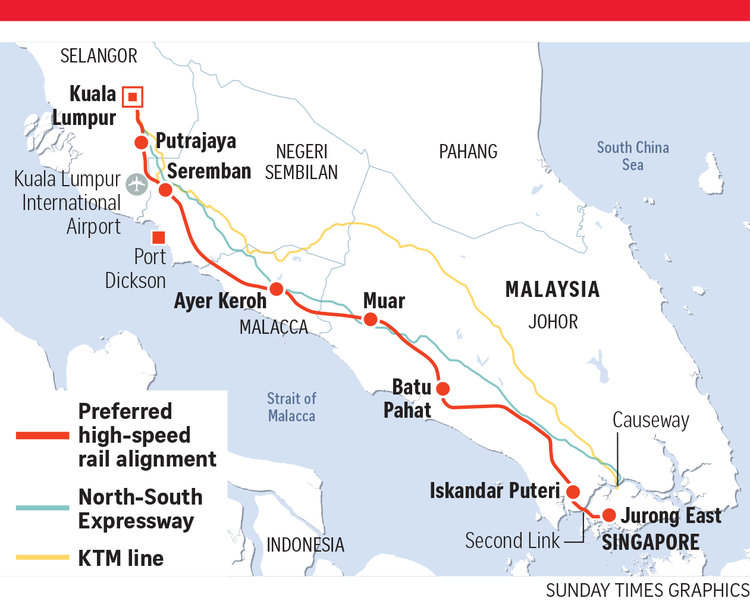 59623dee6c1204 The agreed upon high speed rail alignment between Singapore and Kuala  Lumpur