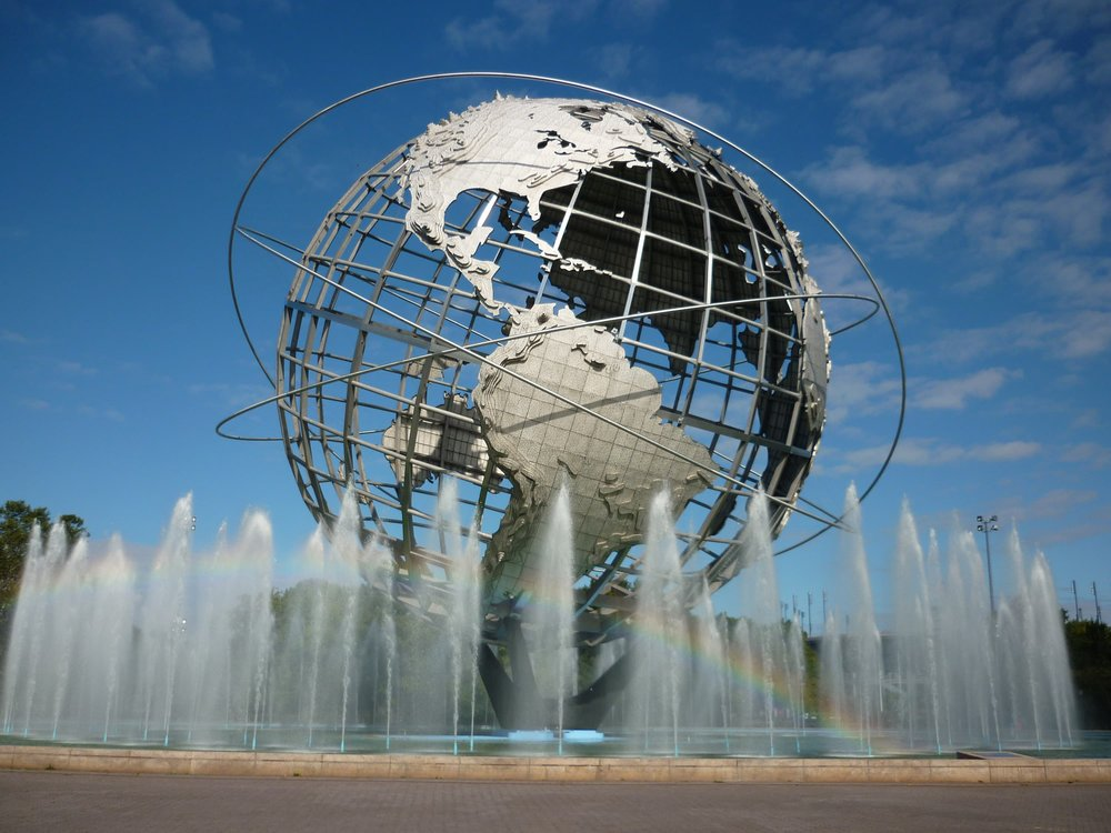 The Flushing Unisphere is the centrepiece of the current day Flushing Meadows/Corona Park, once the venue for 2 World's Fairs,  photo from The Nocturnal Times