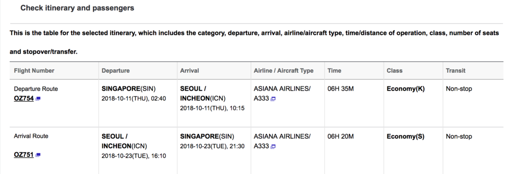 Asiana : Fare classes are displayed after selecting flights and before payment is made