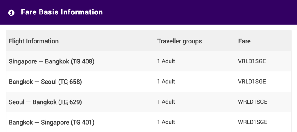 Thai Airways:  Fare classes are hidden under the 'Fare Basis' tab, for fare classes denoted like this, just pay attention to the first letter of the code