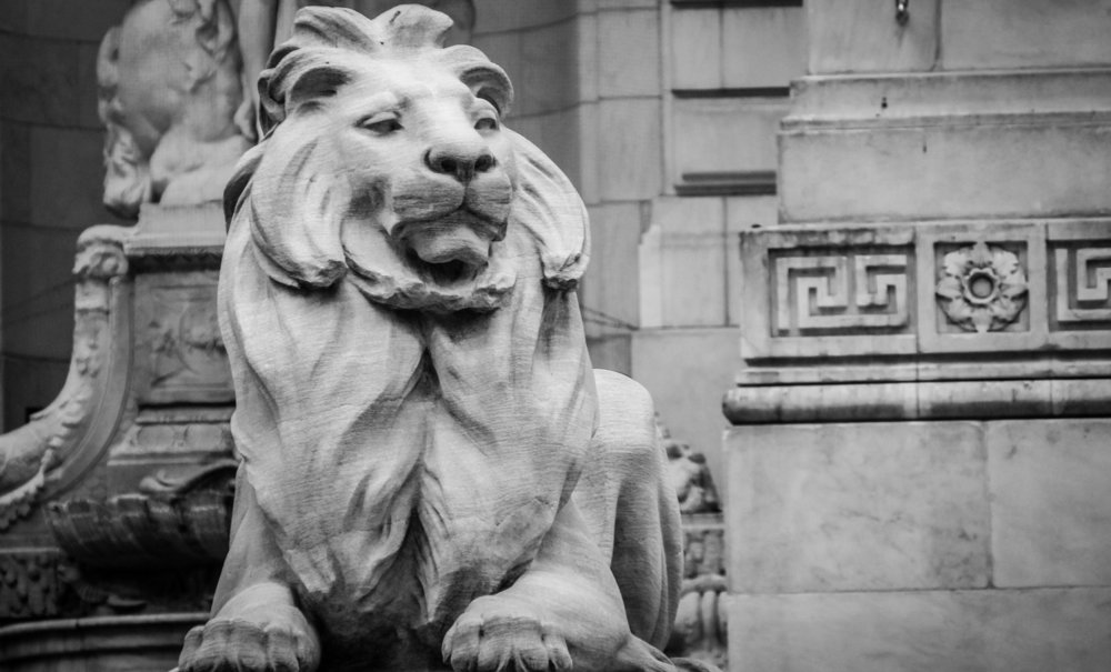 The two lions guarding the entrance of the NYPL building are named Lady Astor and Lord Lenox after the NYPL's founders,  photo from NYPL