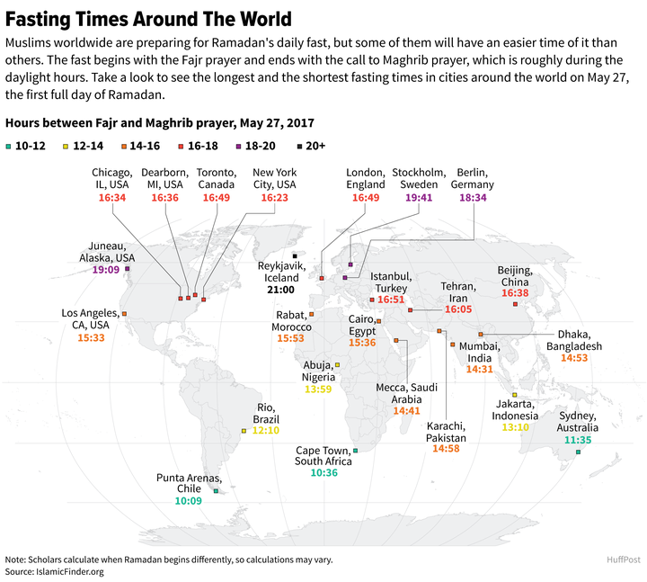 The total amount of hours in a day Muslims around the world have to fast for,  photo from HuffPost