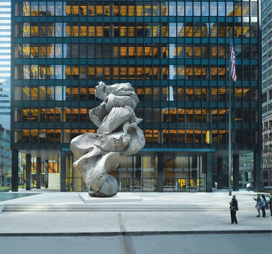 The open plaza and atrium in front of the Seagram Building (the statue is now gone) was one of the first of its time,  photo from Pinterest