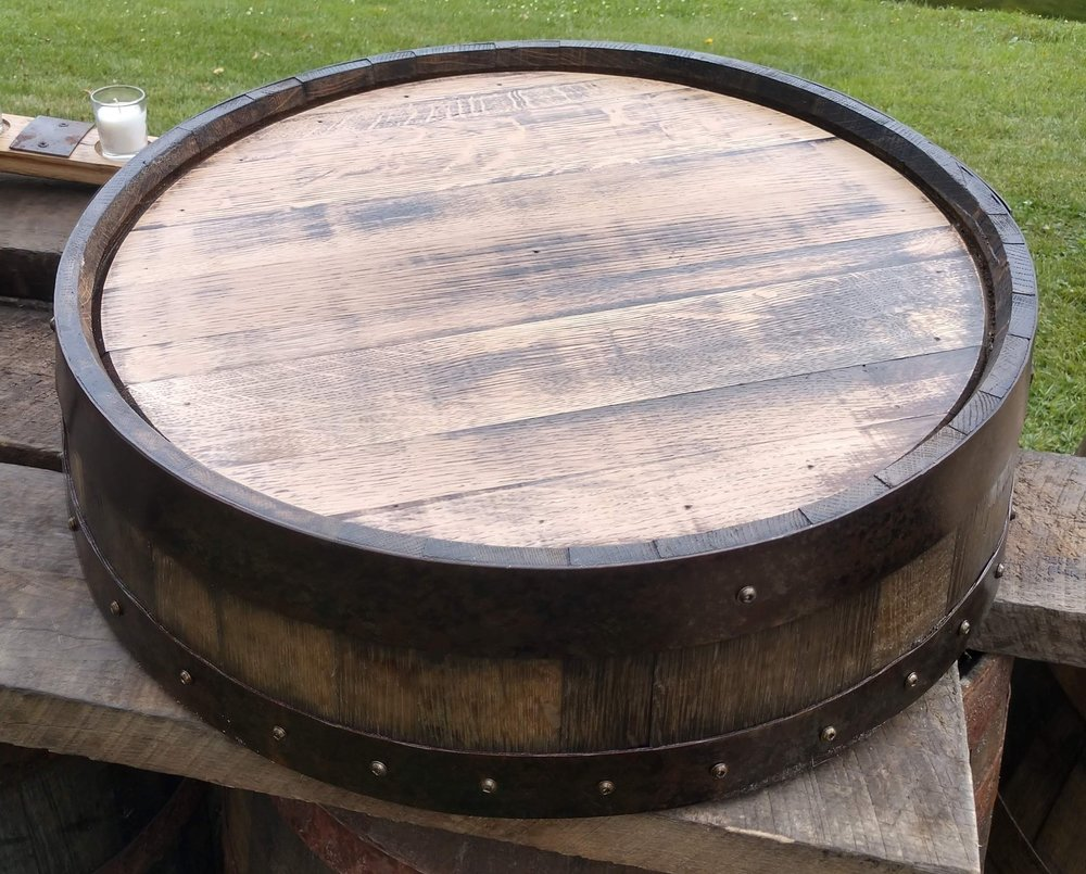 """Large Whiskey Barrel Cake Stand - Keep the theme going with a whiskey barrel cake stand! The stand has an inner diameter of 21"""" and stands at about 6"""" tall.Rental for this item is $20eaInterested in purchasing this item? Follow this link to purchase instead of rent!"""