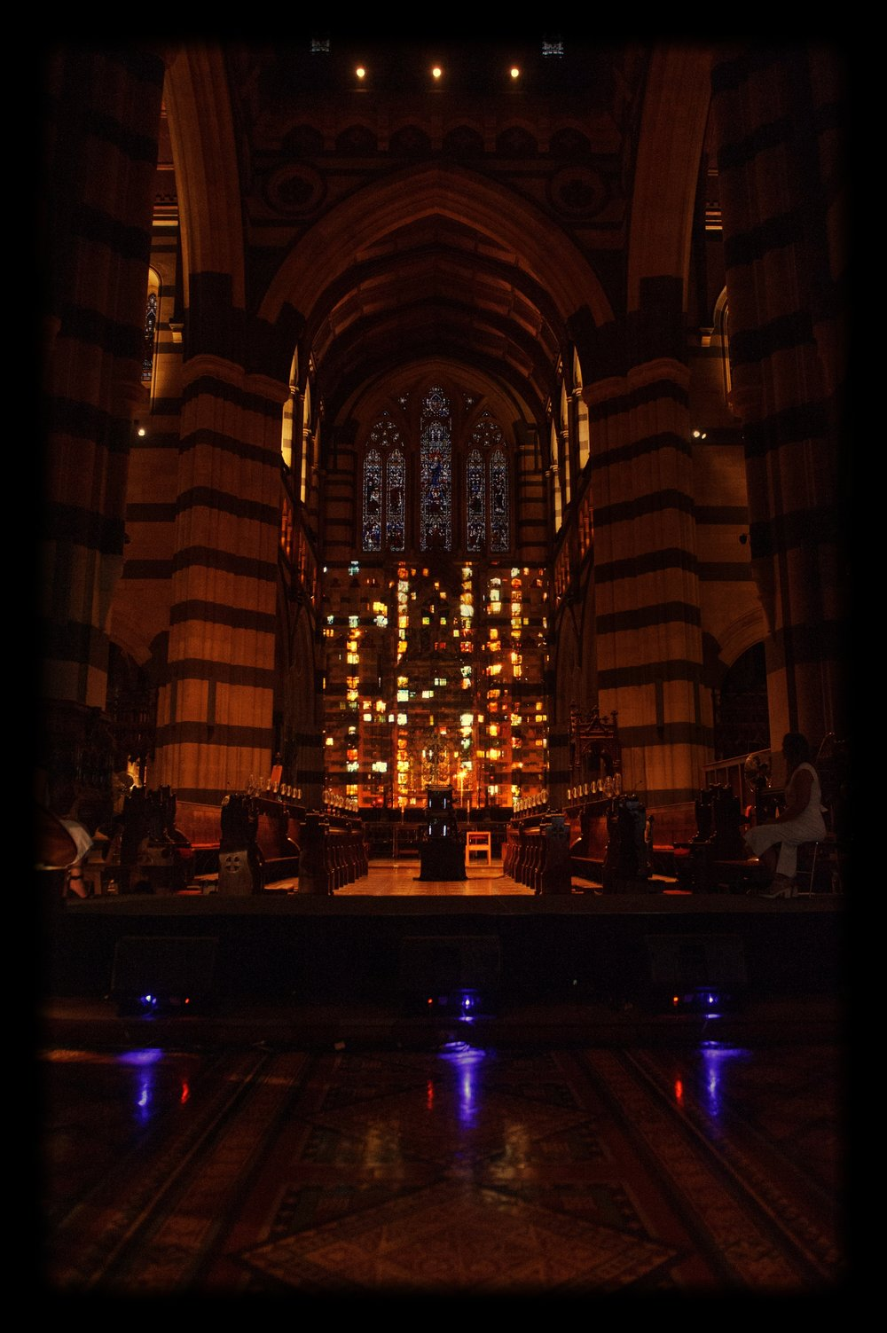 In rehearsal for SILVER RAIN at Melbourne's St Paul's Cathedral  Image:  Sarah Walker