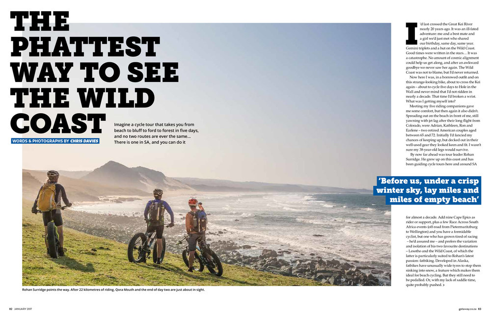 Getaway Magazine - January 2017Cycling South Africa's Wild Coast by fat bike with the fantastic team at Detour Trails.