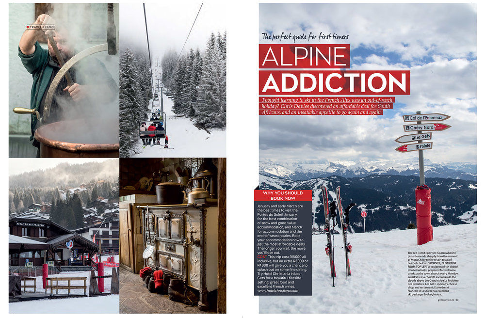 Getaway Magazine - July 2015Learning to ski in the family-friendly resort of Les Gets in France.