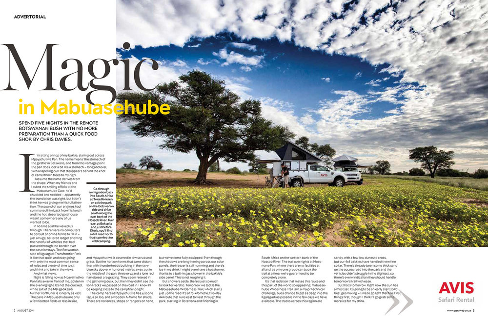 Getaway Magazine - August 2014Following the red Kalahari sand through the wild and wonderful Kgalagadi Transfrontier Park.