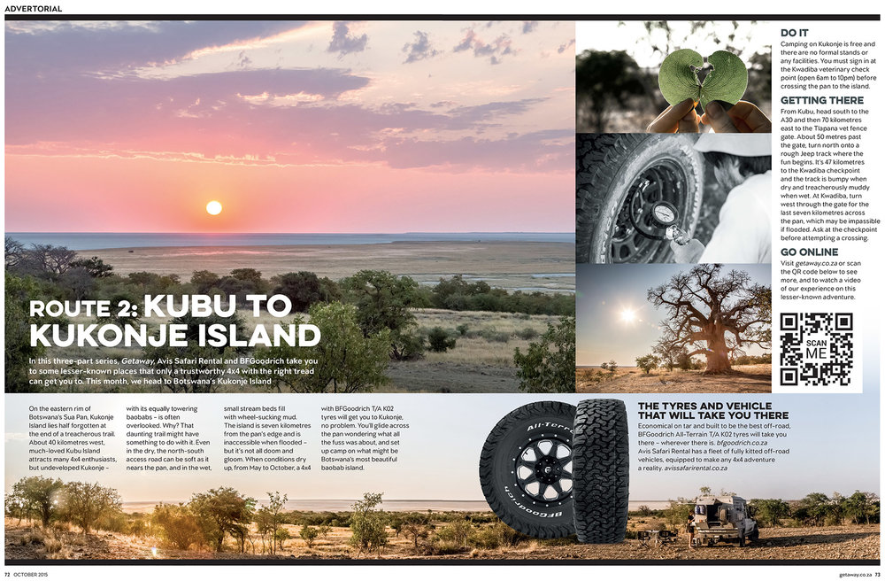 Getaway Magazine - October 2015Exploring Kukonje Island, on the eastern edge of Botswana's vast Sua Pan.