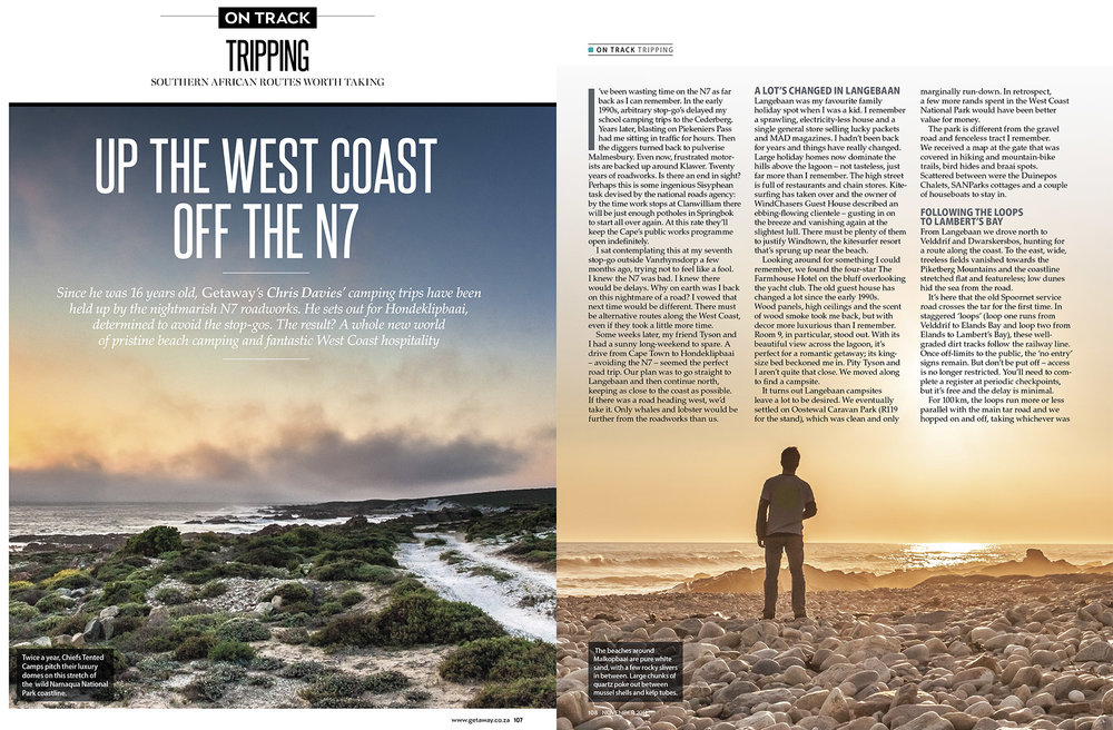 Getaway Magazine - November 2014A beach-camping road trip along South Africa's gorgeous West Coast.