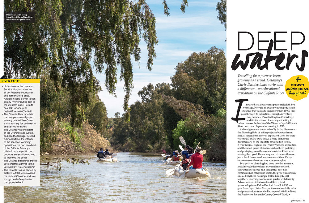 Getaway Magazine - January 2016Educational canoeing trip with Explore4Knowledge down the drought-stricken Olifants River in South Africa.