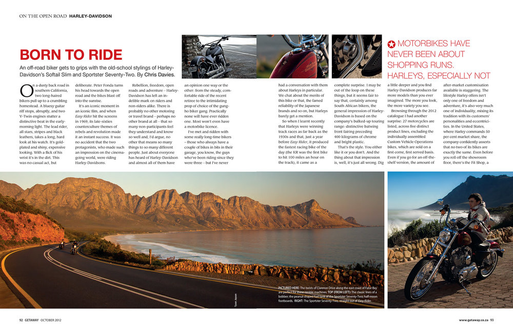 Getaway Magazine - October 2012Riding the latest Harleys on some of Cape Town's most beautiful roads.